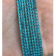 Стразовая лента (цепь) SS10 лазурный/серебро  (1метр)