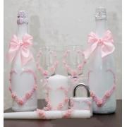 Семейный очаг из 3 свечей в розовом цвете