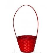 Корзина плетеная бамбук d23xh17/53см красная