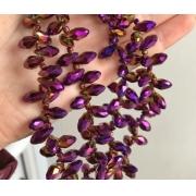 Бусины стекло капли граненые 5х12 мм (5 шт.) фиолетовый металлик
