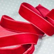 Лента бархатная 20 мм красная 026 (1м)