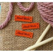 Кожаные бирки для вязаных изделий морковный