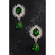 Серединка ювелирная с подвеской 3.5х5см (2 шт) серебро/зеленый