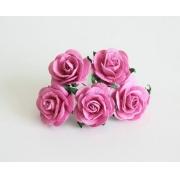 Розы из бумаги 2 см (5 шт.) ярко-розовые