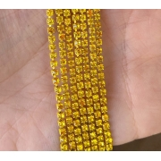 Стразовая лента (цепь) SS10 жёлтый/золото  (1метр)