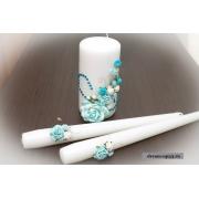 Семейный очаг из 3 свечей в голубом цвете