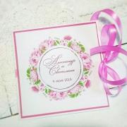 """Свадебное приглашение с печатными цветами """"Фуксия"""""""
