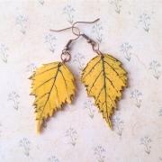 """Серьги """"Осенние листики"""" желтые"""