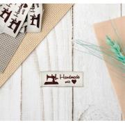 Набор нашивок «Hand made», полиэстер, 4.5 × 1.5 см, 10 шт, цвет сливочный/коричневый