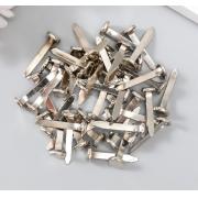 "Набор брадс металл ""Серебристые"" 50 шт 2,5 см"