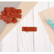 Набор нашивок из экокожи «Hand made», 5 × 1,5 см, 10 шт