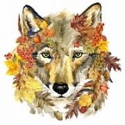 """Набор для вышивания с бисером """"Осенний волк"""" 28х34см"""