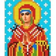 """Ткань с рисунком для вышивания бисером """"Богородица Семистрельная"""" 7х8.5см"""