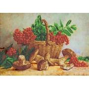 """Ткань с рисунком для вышивания бисером """"Корзина с рябиной и грибами"""" 26х36см"""