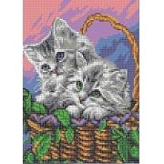 """Ткань с рисунком для вышивания бисером """"Котята в корзине"""" 25х18.5см"""