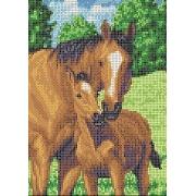 """Ткань с рисунком для вышивания бисером """"Лошади"""" 19х24см"""