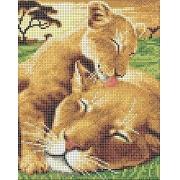 """Ткань с рисунком для вышивания бисером  """"Мамы и их зверята"""" 18.6х24.3см"""