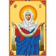 """Ткань с рисунком для вышивания бисером """"Покров Пресвятой Богородицы"""" 7.9х11.6см"""