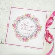 """Свадебное приглашение с печатными цветами """"Темно-розовый"""""""