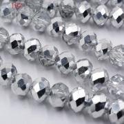 Бусины стекло граненое 8 мм серебристые (10шт.)
