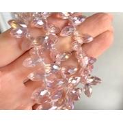 Бусины стекло капли граненые 5х12 мм (5 шт.) розовые