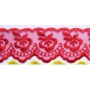 Кружево органза 4 см Красный (1м)