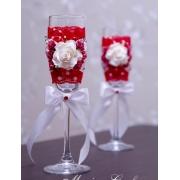 Бокалы свадебные с красным кружевом (пара)