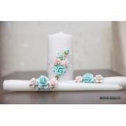 Семейный очаг из 3 свечей в розово-голубом цвете
