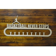 "Медальница спортивная ""Баскетбол Basketball never stops"" 70см"