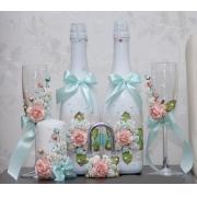 Оформление бутылок вина/шампанского в мятно-персиковом оформлении (1шт.)