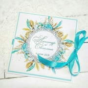 """Свадебное приглашение с печатными цветами """"Лазурь"""""""