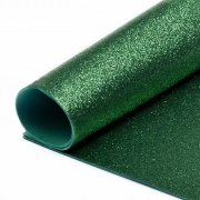 Фоамиран глиттерный 2мм 20х30см темно-зеленый